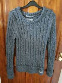 Superdry Grey and Silver Jumper