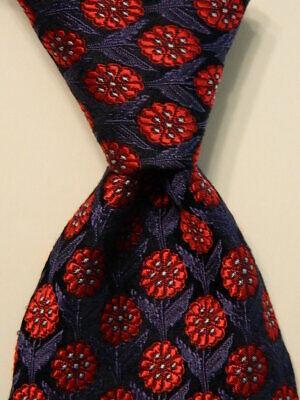 IKE BEHAR Men's 100% Silk Necktie USA Designer FLORAL Blue/Red Classic EUC