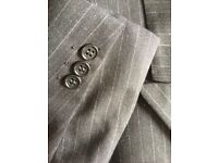 pure wool pinstriped suit jacket with matching 2 pairs trousers - double breasted