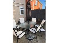Versailles 11 piece garden furniture set. Patio chairs table