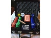 Playing cards n chip gaming set in protection case for travel