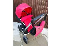 Mothercare Xpedior Pram Red And Black Cosy Toes Rain Covers Changing Bag