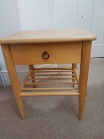 Ikea wooden bedside table with drawer