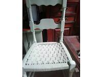 Wooden chair olive green painted and waxed sturdy