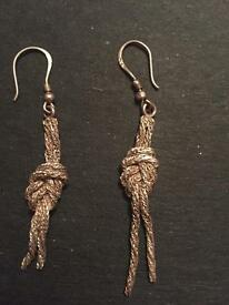 925 silver drop knot rope earrings