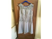 Mother of the bride beautiful dress grey lace bodice and shifon skirt silver bolero new size 16/18