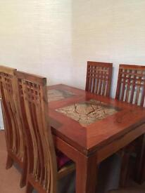 Solid acacia hardwood table and 6 chairs
