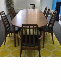 Stylish, vintage 8 seater dining table (with chairs), from Troeds of Sweden