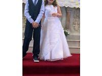 White satin and mesh communion dress