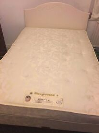 Double size bed frame with pocket sprung mattress