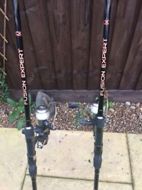 2 9 foot carp rods and reels