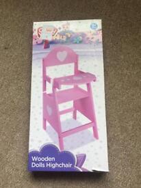 New Wooden dolls high chair
