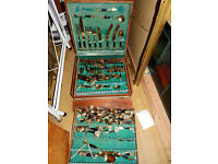 Antique very large size of case with Siamese bronze cutlery set(over 150ps)