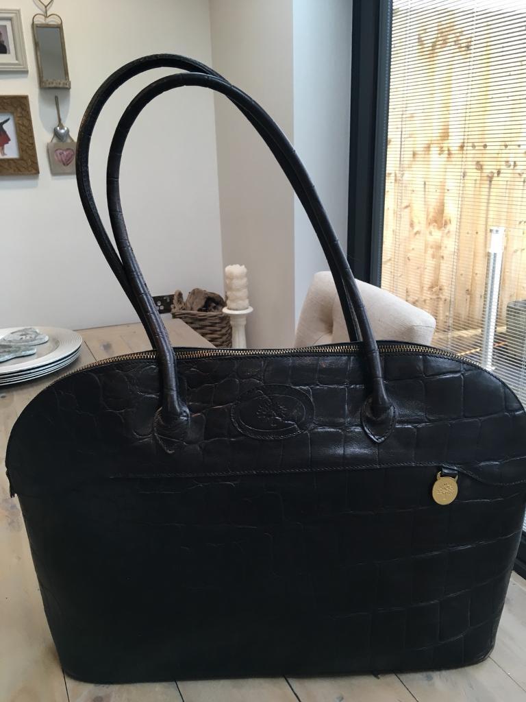 4352f7c4234c MULBERRY Black Congo Leather BRETON Tote Shoulder Bag. St George ...