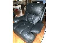 Black Leather Recliner Armchair - lever raises feet & reclines back - Bristol/Kingston/Gloucester
