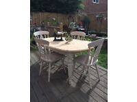 Shabby chic / solid pine table and four chairs