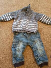 Baby boy jeans and jumper 3-6 months