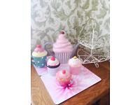 Fun tea party collection of cupcakes stand, teapot and pots