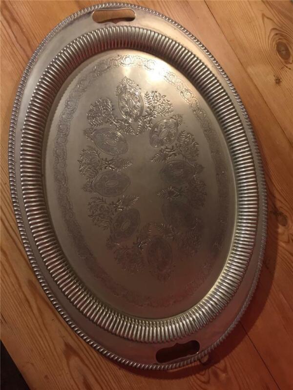 Vintage EPNS Large Oval Serving Butlers Tray Maker Acornlike 61cm