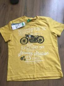 Benetton yellow boys motorbike tshirt 3-4