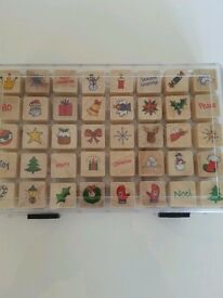 box of craft stamps xmas