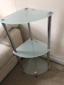 Corner Unit 3 tier with Glass Shelves and Chrome Frame
