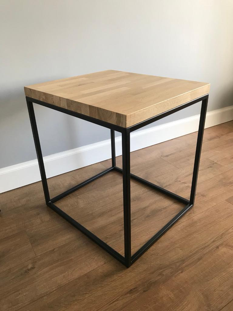 Solid Oak And Black Metal Box Frame Side Table