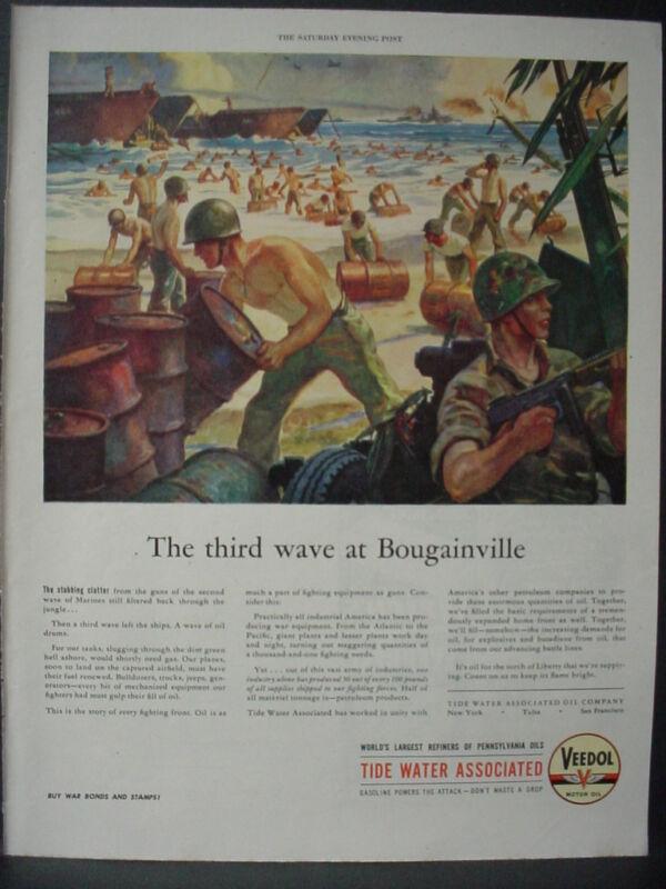 1944 Navy Lands in Bougainville unload Oil Drums Veedol Oil VTG Print Ad 11944