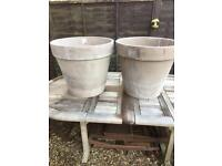 Pair very large terracotta garden pots weathered but unused