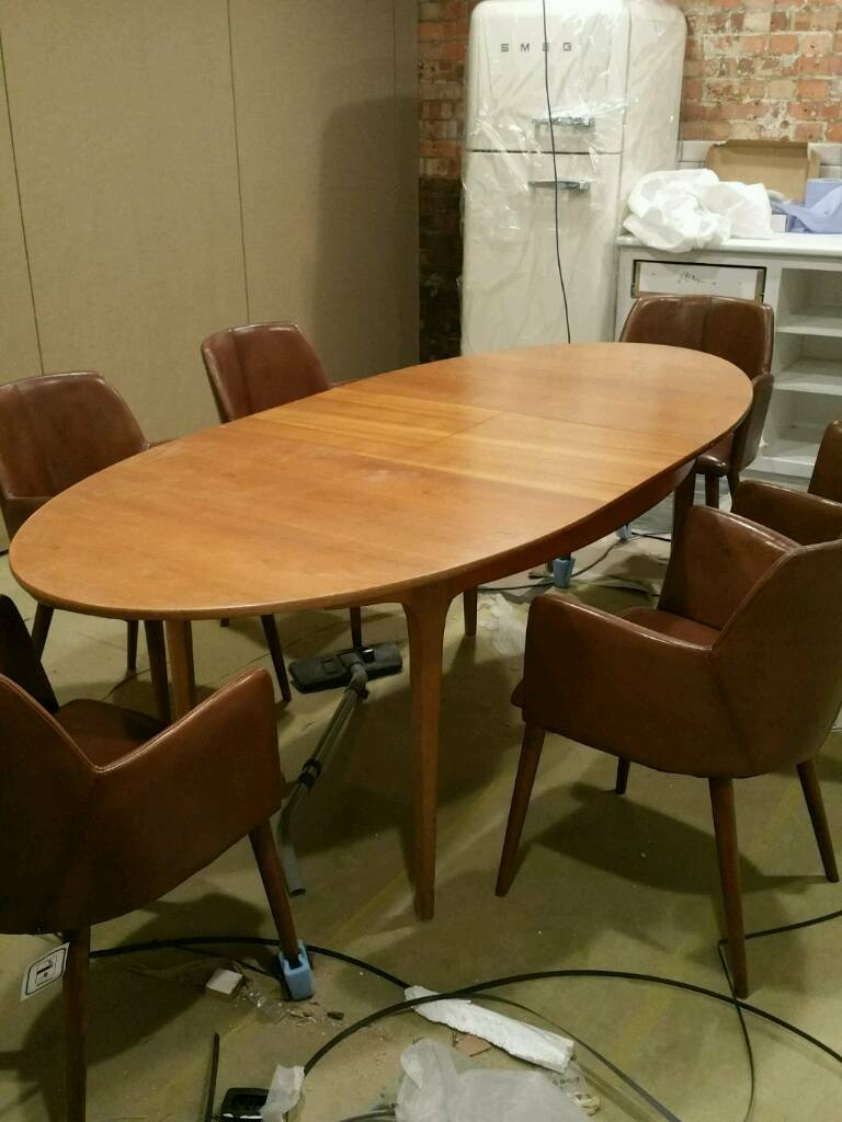 Retro Seater Teak Oval Extending Dining Table S Form Sutcliffe - Teak oval extension dining table