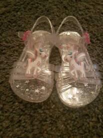 Unicorn jelly sandals size 4
