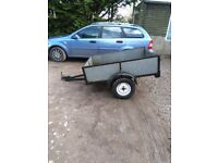Car trailer galvanized,5ft x3ft load space,with lights,new tyres,drop down tail gate,