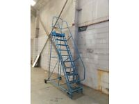 3 Meters High Metal Ladder With Steps, Wheels, Stop, In Good Working Condition