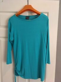Turquoise Scoop Neck maternity top with side tie detail, Size 12