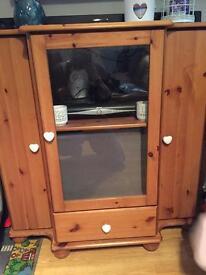 Pine tv hifi unit storage cabinate
