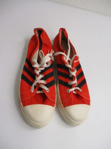 Vintage 1970s Orange Canvas Striped Sneakers USA MADE Size 10.5
