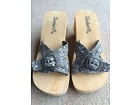 Skechers sandals x2 Beige and Cream and black and white UK size 6 never worn, so as new