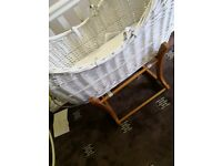 White wicker pod Moses basket with stand