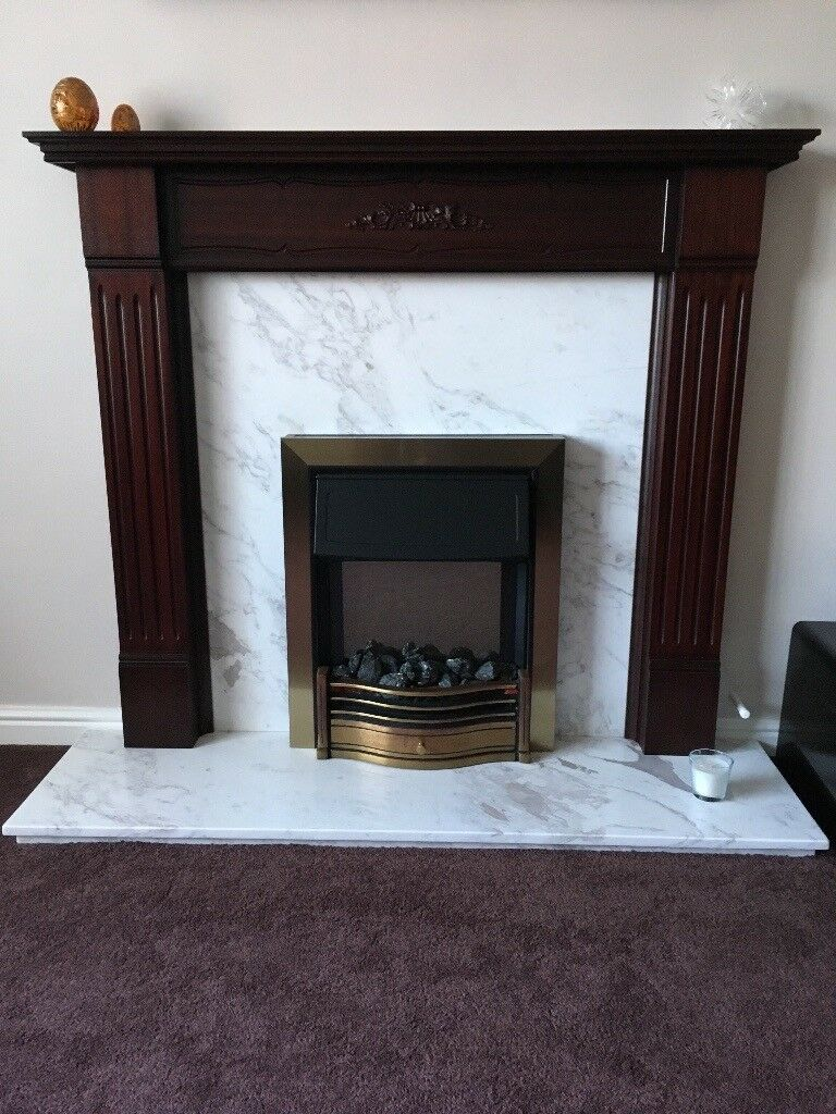 Fireplace Surround Mahogany White Grey Marble Back