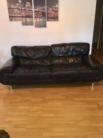 3 Piece Black Leather Suite with Pouffe