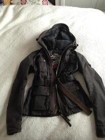Ladies olive superdry waxed jacket M/10/12