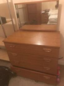 Mirror dressing table with draws