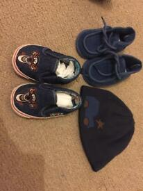 baby shoes / caps bundle and romper