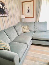 Right hand fabric corner sofa. Light blue. Great condition. Laura Ashley.