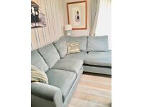 Right hand fabric corner sofa. Light blue. Great condition. Laura Ashley.