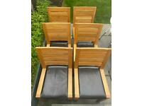 Marks & Spencer Sonoma Brown Leather Solid Oak Dining Chairs - Six