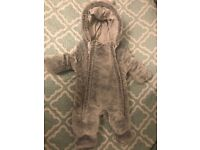 Gray ,baby first size snowsuit , boy, girl, fluffy