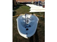 Laser bug sailing dinghy with two sails, outboard and oars