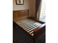 M&S Oak wooden double bed frame matching bedside table