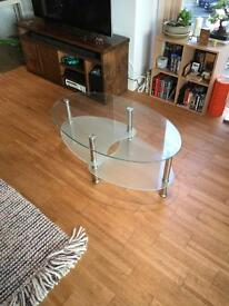 Glass dining table, coffee table and tv unit set